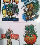 Surfs Up, Surf All Day, Green Rat Fink Sticker Set