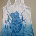 Burnout Rat Fink Ladies Tank Top (Blue / White)