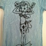Paisley Burnout Lady Luck Blue Ladies Fitted Tee