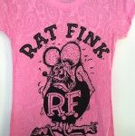 Paisley Burnout Rat Fink Pink Ladies Fitted Tee