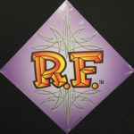 Purple RF Lettering Metal Sign