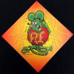 Orange Rat Fink Image Metal Sign 12in