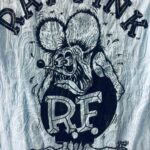 Paisley Burnout Rat Fink/Letters Blue Ladies Fitted Tee